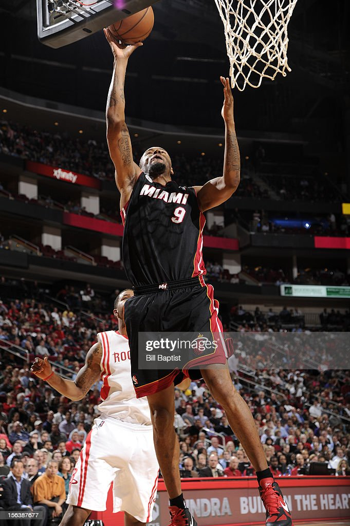 Rashard Lewis #9 of the Miami Heat drives to the basket against the Houston Rockets on November 12, 2012 at the Toyota Center in Houston, Texas.