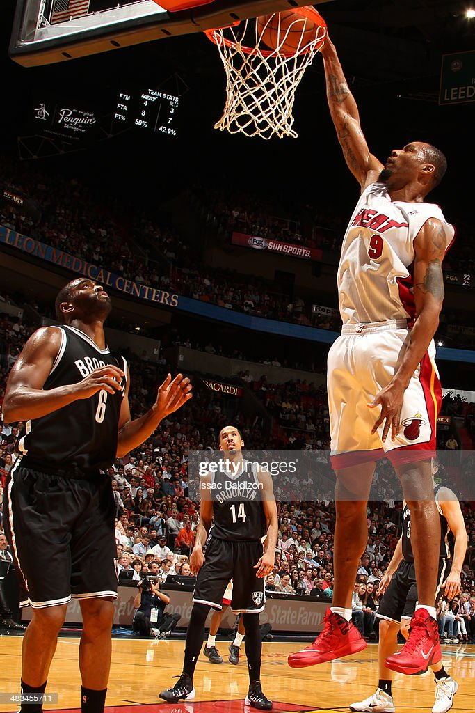 Rashard Lewis #9 of the Miami Heat goes up for the dunk against the Brooklyn Nets during game on April 8, 2014 at American Airlines Arena in Miami, Florida.