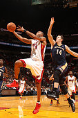 Rashard Lewis of the Miami Heat going for a layup during a game against the New Orleans Pelicans at the American Airlines Arena in Miami Florida on...