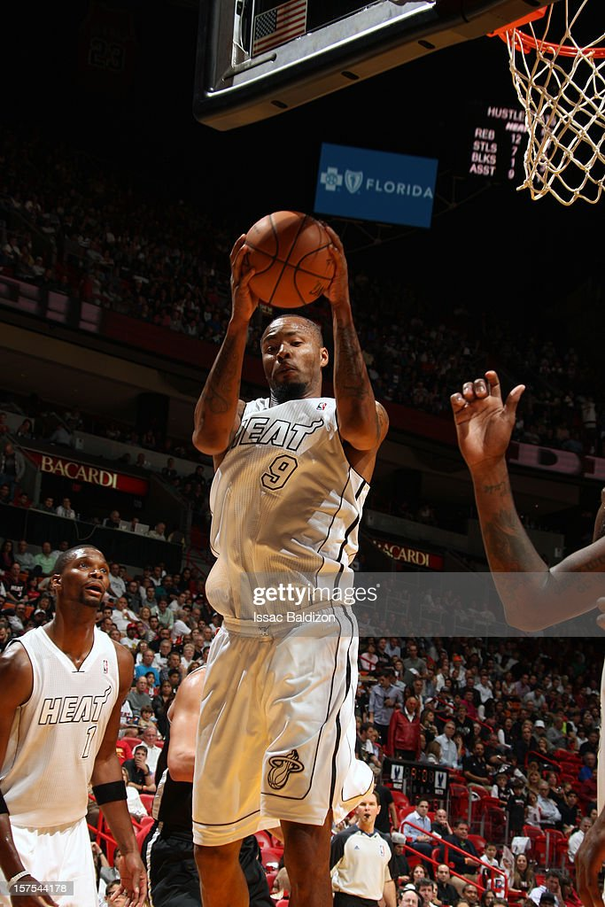 Rashard Lewis #9 of the Miami Heat grabs the rebound against the Brooklyn Nets on December 1, 2012 at American Airlines Arena in Miami, Florida.