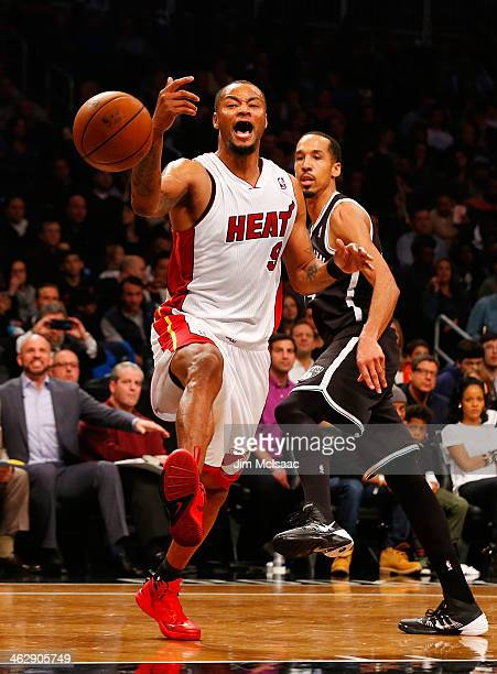 Rashard Lewis of the Miami Heat in action against the Brooklyn Nets at Barclays Center on January 10 2014 in the Brooklyn borough of New York CityThe...