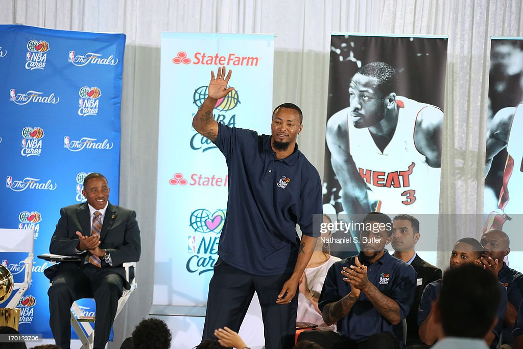 Rashard Lewis of the Miami Heat is introduced at the 2013 NBA Finals Legacy Project as part of the 2013 NBA Finals on June 7, 2013 at the Joe Celestin Center in Miami, Florida.