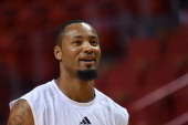 Rashard Lewis of the Miami Heat looks on before a game against the Brooklyn Nets in Game Five of the Eastern Conference Semifinals of the 2014 NBA...