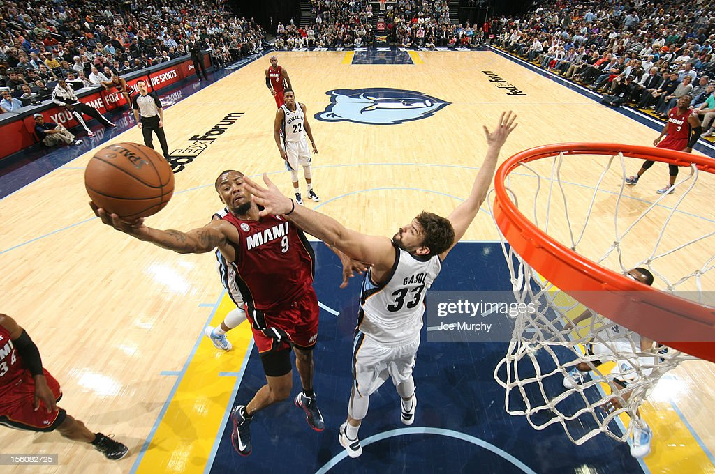Rashard Lewis #9 of the Miami Heat shoots against Marc Gasol #33 of the Memphis Grizzlies on November 11, 2012 at FedExForum in Memphis, Tennessee.