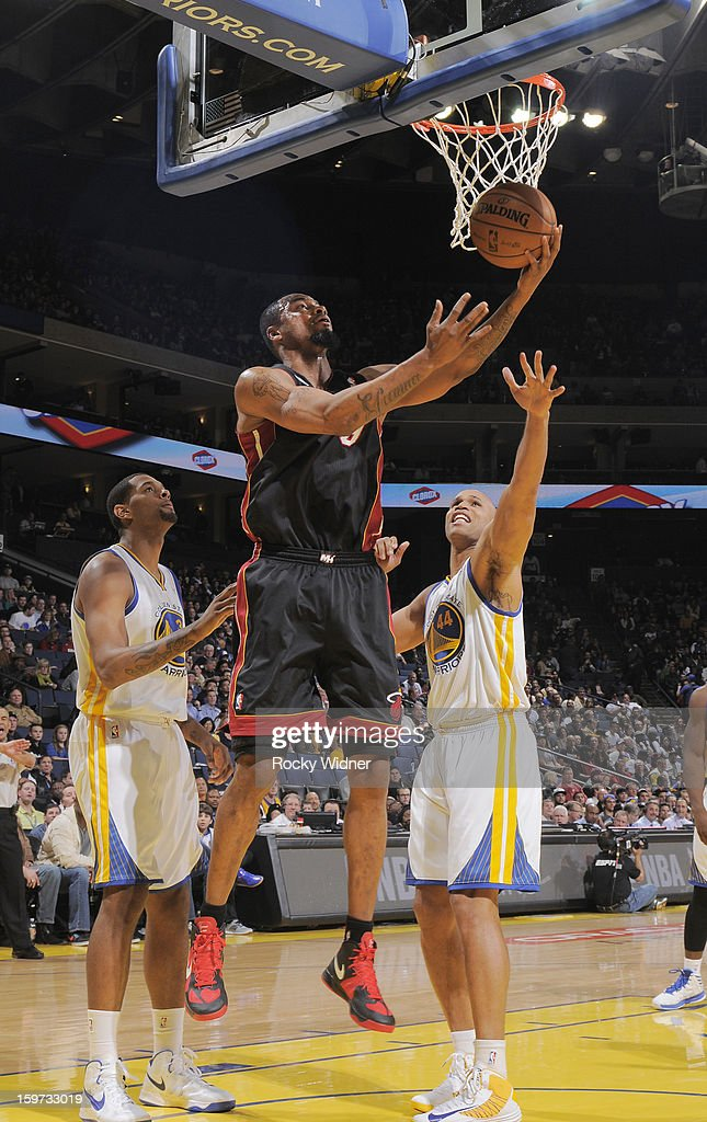 Rashard Lewis #9 of the Miami Heat shoots against Richard Jefferson #44 of the Golden State Warriors on January 16, 2013 at Oracle Arena in Oakland, California.