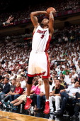 Rashard Lewis of the Miami Heat shoots against the Brooklyn Nets in Game Five of the Eastern Conference Semifinals of the 2014 NBA playoffs at...