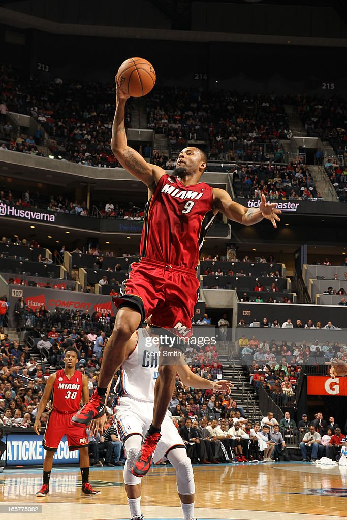 Rashard Lewis #9 of the Miami Heat shoots against the Charlotte Bobcats at the Time Warner Cable Arena on April 5, 2013 in Charlotte, North Carolina.