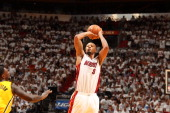 Rashard Lewis of the Miami Heat shoots against the Indiana Pacers in Game Six of the Eastern Conference Finals during the 2014 NBA Playoffs on May 30...