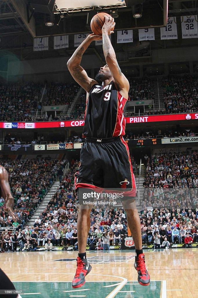 Rashard Lewis #9 of the Miami Heat shoots against the Utah Jazz at Energy Solutions Arena on January 14, 2013 in Salt Lake City, Utah.