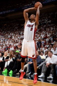Rashard Lewis of the Miami Heat shoots during Game Four of the 2014 NBA Finals between the Miami Heat and San Antonio Spurs at the American Airlines...