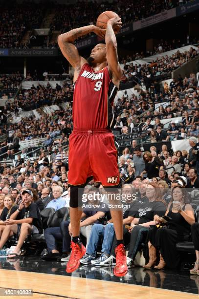 Rashard Lewis of the Miami Heat shoots during Game One of the 2014 NBA Finals between the Miami Heat and San Antonio Spurs at ATT Center on June 5...