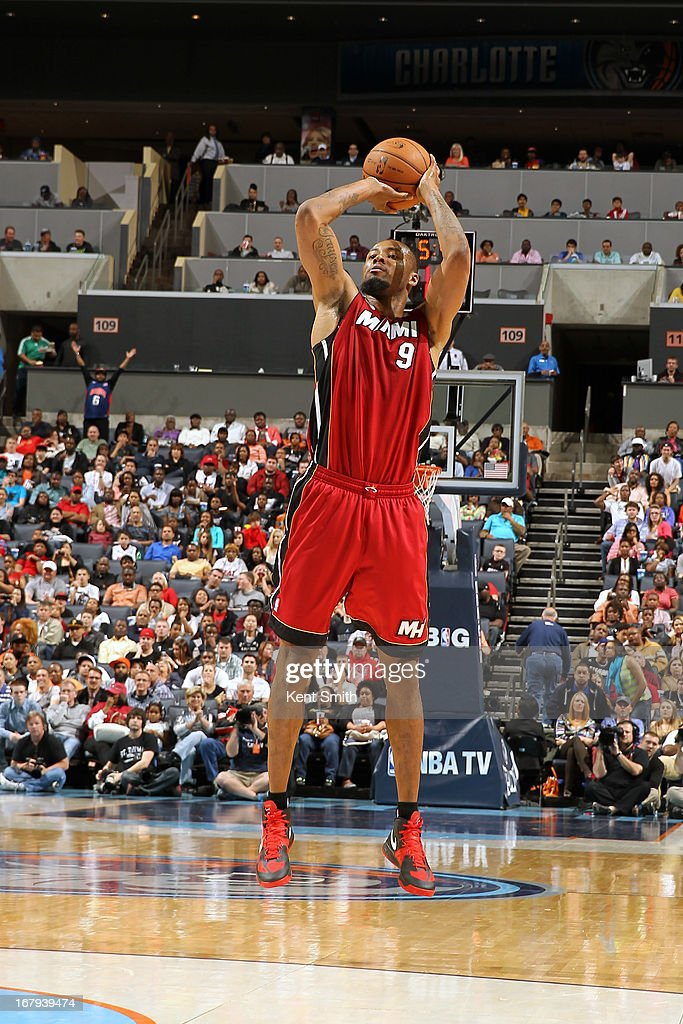 Rashard Lewis #9 of the Miami Heat shoots the ball against the Charlotte Bobcats at the Time Warner Cable Arena on April 5, 2013 in Charlotte, North Carolina.