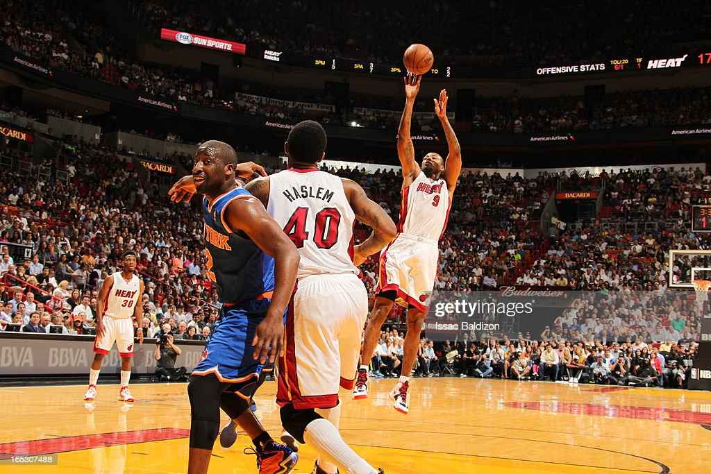 Rashard Lewis #9 of the Miami Heat shoots the ball against the New York Knicks during a game on April 2, 2013 at American Airlines Arena in Miami, Florida.