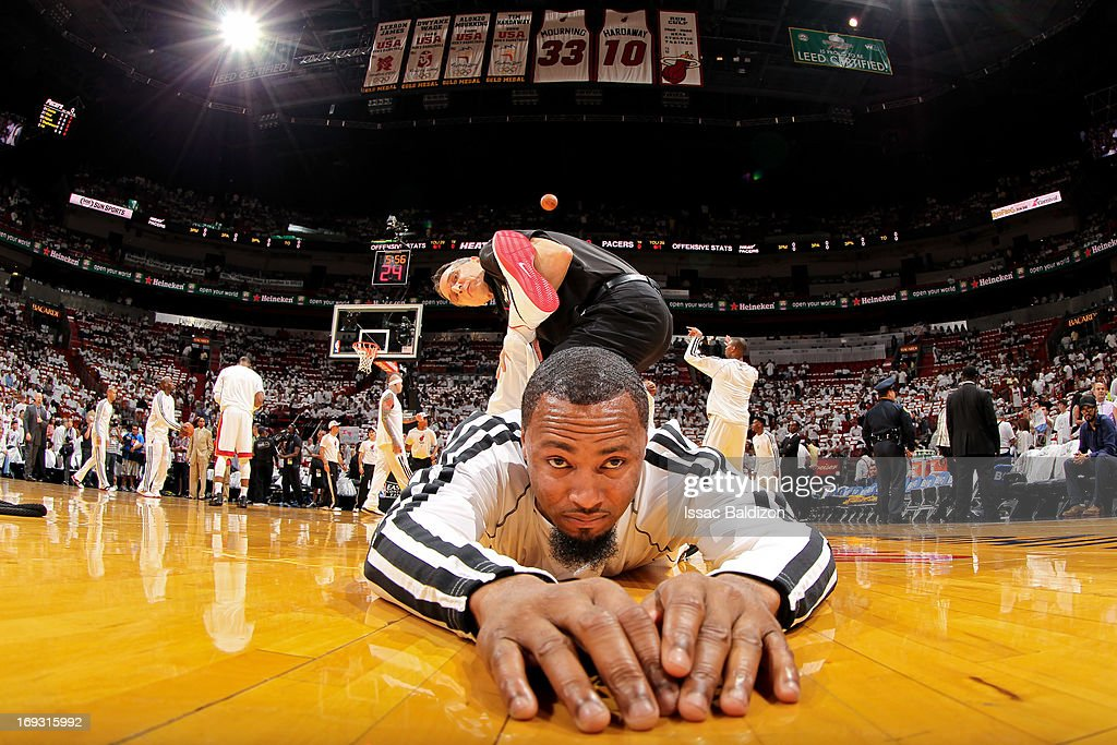 Rashard Lewis #9 of the Miami Heat stretches before playing against the Indiana Pacers in Game One of the Eastern Conference Finals during the 2013 NBA Playoffs on May 22, 2013 at American Airlines Arena in Miami, Florida.