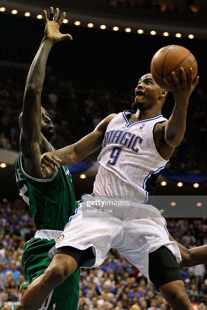 Rashard Lewis #9 of the Orlando Magic drives for a shot attempt against Kevin Garnett #5 of the Boston Celtics in Game Two of the Eastern Conference Finals during the 2010 NBA Playoffs at Amway Arena on May 18, 2010 in Orlando, Florida.