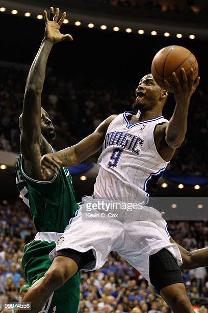 Rashard Lewis of the Orlando Magic drives for a shot attempt against Kevin Garnett of the Boston Celtics in Game Two of the Eastern Conference Finals...