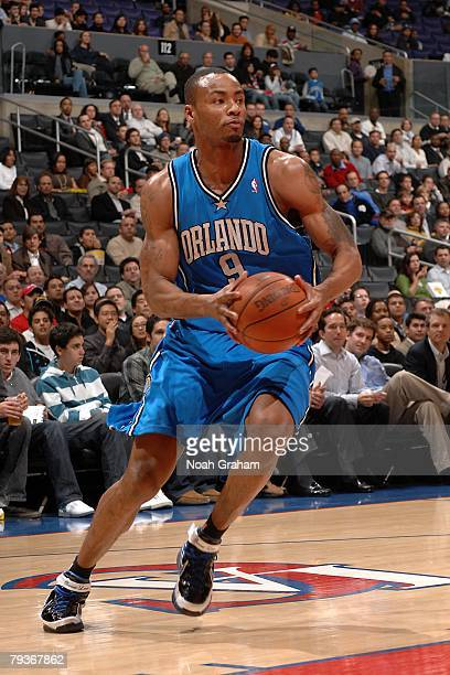 Rashard Lewis of the Orlando Magic moves the ball during the NBA game against the Los Angeles Clippers at Staples Center on January 9 2008 in Los...