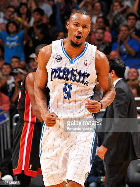 Rashard Lewis of the Orlando Magic reacts after scoring a three point basket against the Miami Heat on November 24 2010 at the Amway Center in...