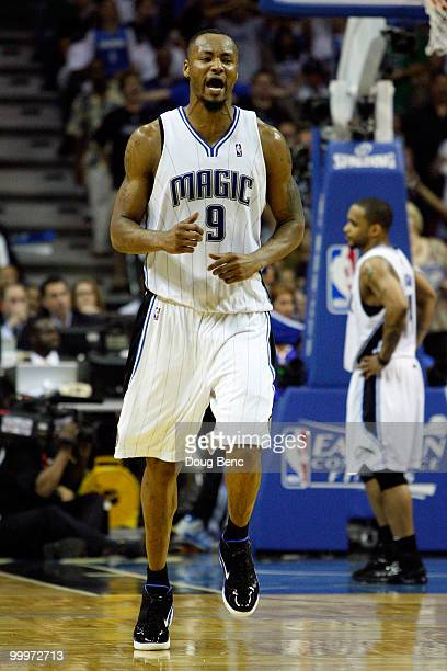 Rashard Lewis of the Orlando Magic reacts against the Boston Celtics in Game Two of the Eastern Conference Finals during the 2010 NBA Playoffs at...