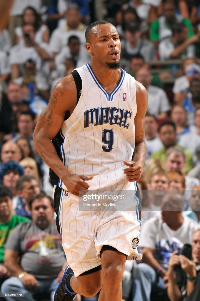 Rashard Lewis #9 of the Orlando Magic runs up court in Game One of the Eastern Conference Finals against the Boston Celtics during the 2010 NBA Playoffs on May 16, 2010 at Amway Arena in Orlando, Florida. The Celtics won 92-88.
