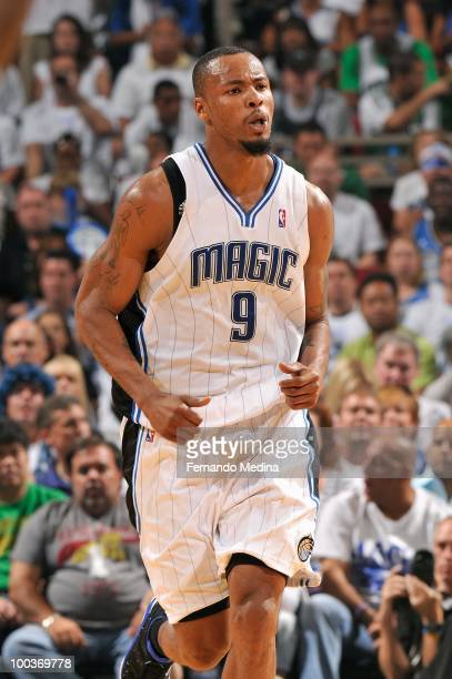 Rashard Lewis of the Orlando Magic runs up court in Game One of the Eastern Conference Finals against the Boston Celtics during the 2010 NBA Playoffs...