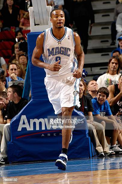 Rashard Lewis of the Orlando Magic runs upcourt during the game against the Miami Heat on November 24 2007 at Amway Arena in Orlando Florida The...