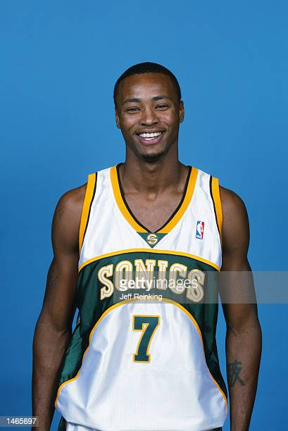 Rashard Lewis of the Seattle Sonics poses for a portrait during the Sonics Media Day on September 30 2002 at Key Arena in Seattle Washington NOTE TO...