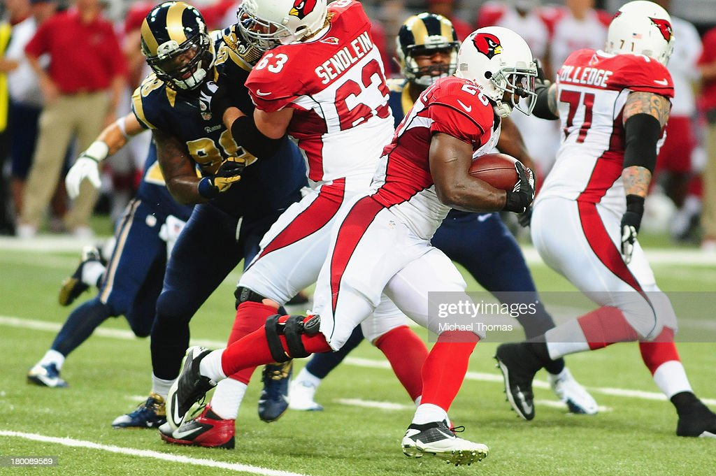 <a gi-track='captionPersonalityLinkClicked' href=/galleries/search?phrase=Rashard+Mendenhall&family=editorial&specificpeople=2167325 ng-click='$event.stopPropagation()'>Rashard Mendenhall</a> #28 of the Arizona Cardinals rushes against the St. Louis Rams at the Edward Jones Dome on September 8, 2013 in St. Louis, Missouri.