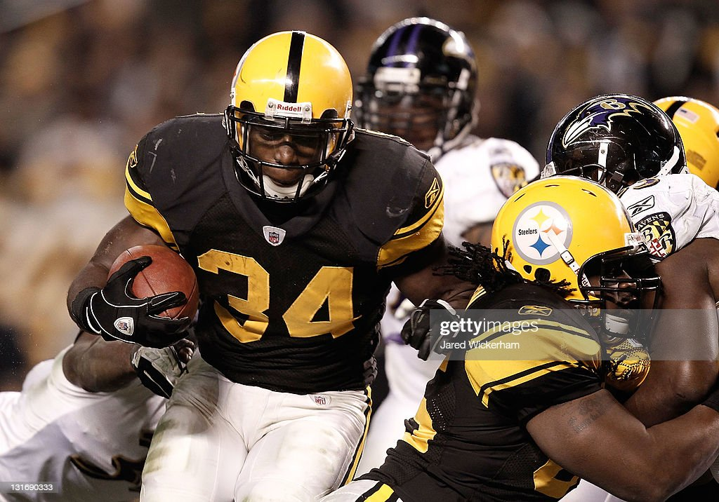 <a gi-track='captionPersonalityLinkClicked' href=/galleries/search?phrase=Rashard+Mendenhall&family=editorial&specificpeople=2167325 ng-click='$event.stopPropagation()'>Rashard Mendenhall</a> #34 of the Pittsburgh Steelers runs into the endzone for a touchdown against the Baltimore Ravens during the game on November 6, 2011 at Heinz Field in Pittsburgh, Pennsylvania.