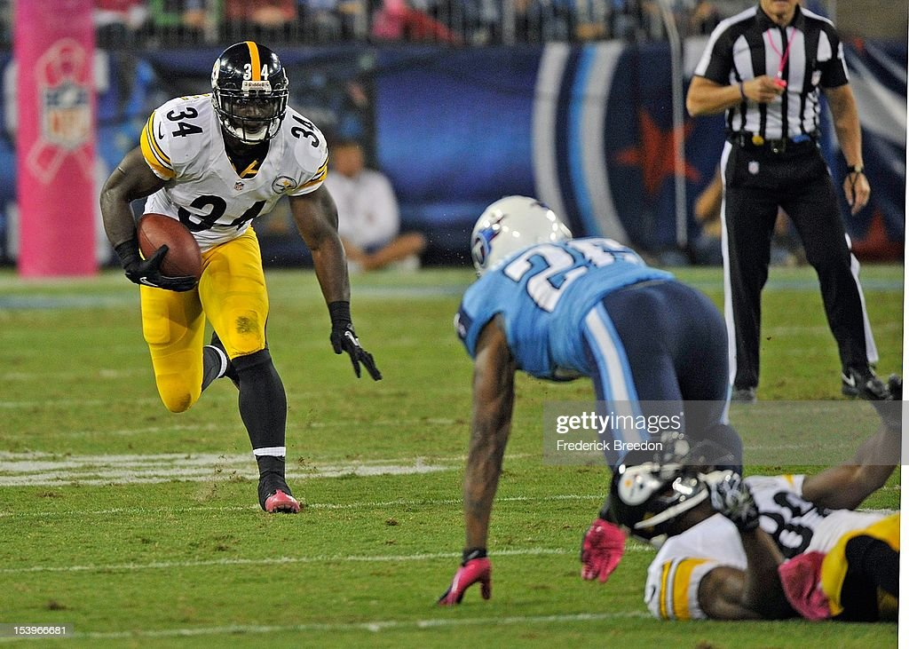 <a gi-track='captionPersonalityLinkClicked' href=/galleries/search?phrase=Rashard+Mendenhall&family=editorial&specificpeople=2167325 ng-click='$event.stopPropagation()'>Rashard Mendenhall</a> #34 of the Pittsburgh Steelers rushes against the Tennessee Titans at LP Field on October 11, 2012 in Nashville, Tennessee.