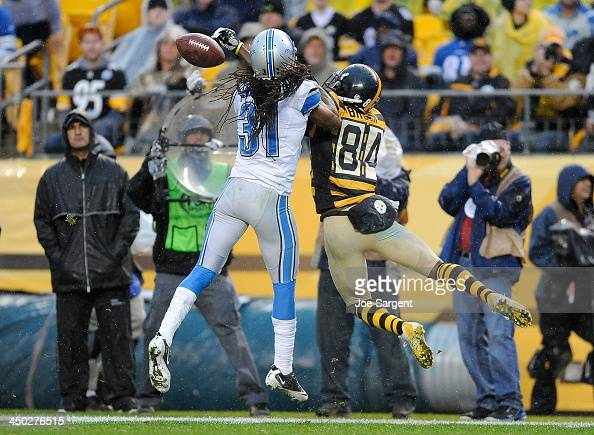Rashean Mathis of the Detroit Lions breaks up a pass intended for Antonio Brown of the Pittsburgh Steelers on November 17 2013 at Heinz Field in...