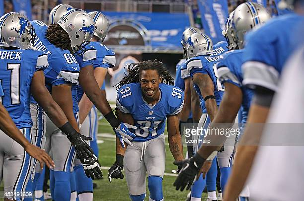 Rashean Mathis of the Detroit Lions during the player introductions prior to the start of the game against the Green Bay Packers at Ford Field on...