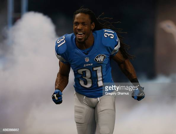 Rashean Mathis of the Detroit Lions enters the field during player introductions prior to playing the Green Bay Packers at Ford Field on September 21...
