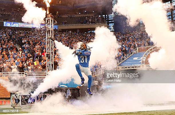 Rashean Mathis of the Detroit Lions enters the field prior to the start of the game against the Minnesota Vikings at Ford Field on December 14 2014...
