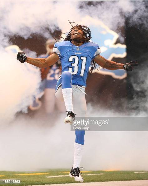 Rashean Mathis of the Detroit Lions enters the playing field prior to the start of the game against the Dallas Cowboys at Ford Field on October 27...