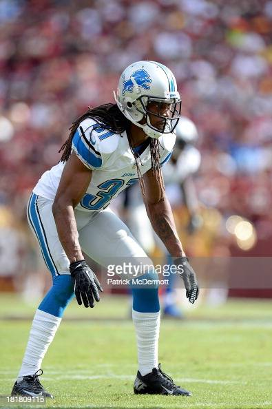 Rashean Mathis of the Detroit Lions in action in the second half during a game against the Washington Redskins at FedExField on September 22 2013 in...