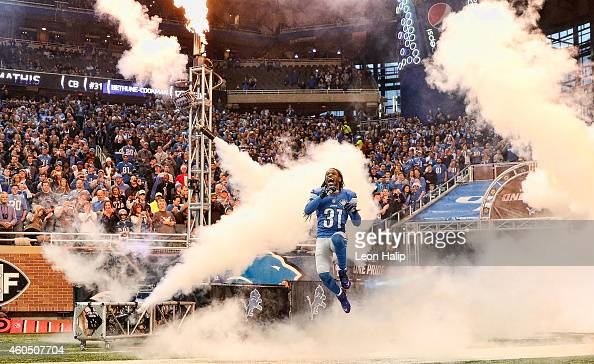 Rashean Mathis of the Detroit Lions runs onto the field during the pregame introductions prior to the start of the game against the Minnesota Vikings...