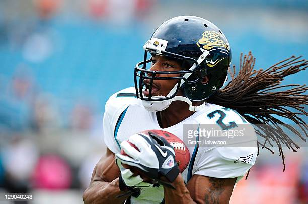 Rashean Mathis of the Jacksonville Jaguars against the Cincinnati Bengals during play at EverBank Field on October 9 2011 in Jacksonville Florida...
