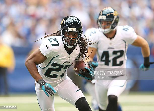 Rashean Mathis of the Jacksonville Jaguars runs with the ball after intercepting a pass during the NFL game against the Indianapolis Colts at Lucas...