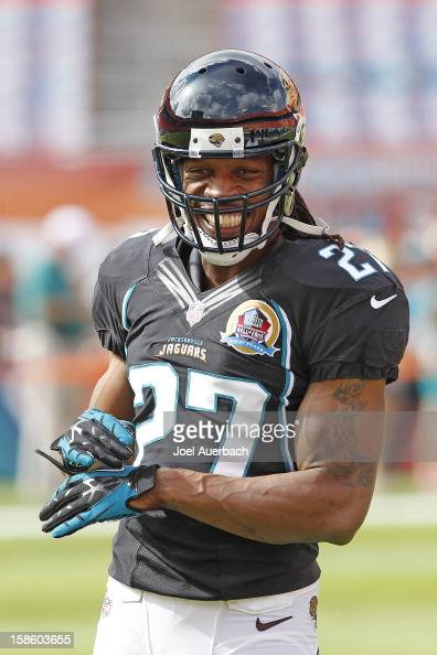 Rashean Mathis of the Jacksonville Jaguars warms up prior to the game against the Miami Dolphins on December 16 2012 at Sun Life Stadium in Miami...