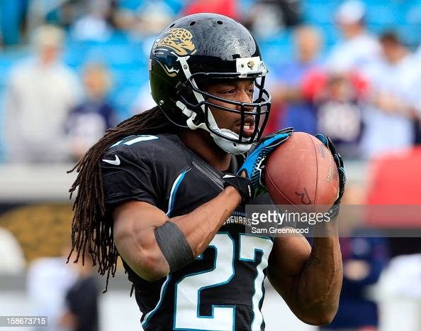 Rashean Mathis of the Jacksonville Jaguars warms up prior to the game against the New England Patriots at EverBank Field on December 23 2012 in...