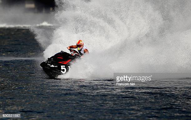 Rashed Al Tayer of UAE practice ahead of the Runabout GP1 Final during the Aquabike Class Pro Circuit World Championships Grand Prix of Sharjah at...