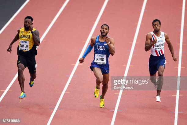 Rasheed Dwyer of Jamaica Kyree King of the United States and Jonathan Quarcoo of Norway compete in the Men's 200 metres heats during day four of the...