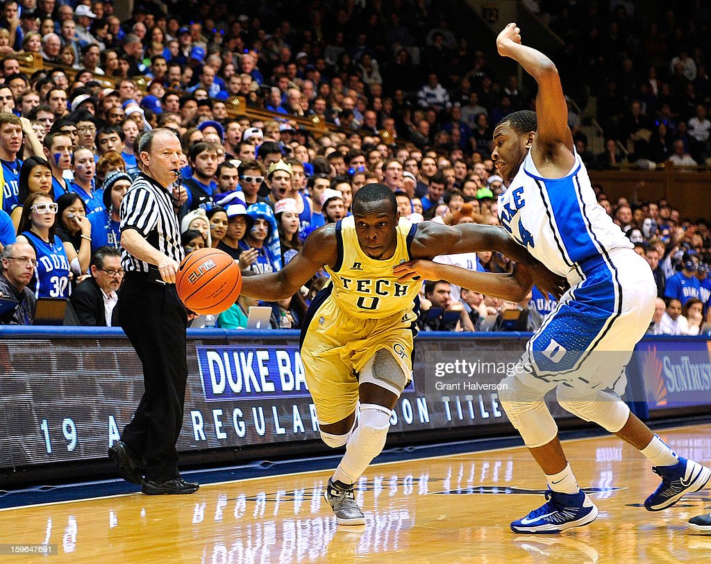 Rasheed Sulaimon #14 of the Duke Blue Devils defends a drive by Mfon Udofia #0 of the Georgia Tech Yellow Jackets during play at Cameron Indoor Stadium on January 17, 2013 in Durham, North Carolina.
