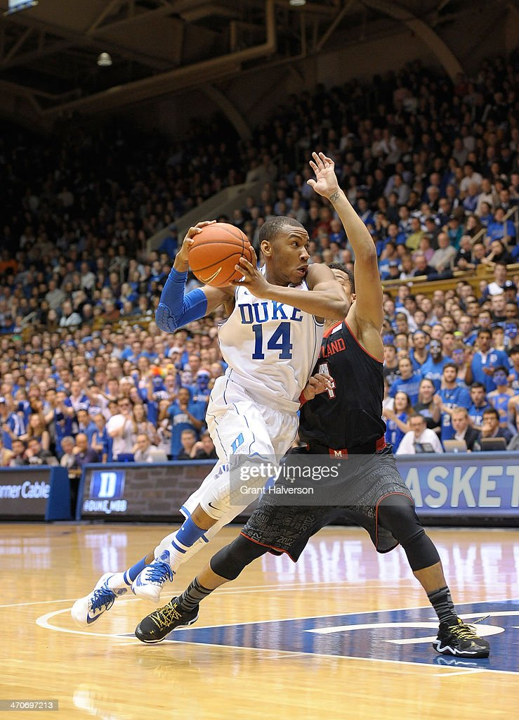 <a gi-track='captionPersonalityLinkClicked' href=/galleries/search?phrase=Rasheed+Sulaimon&family=editorial&specificpeople=7887134 ng-click='$event.stopPropagation()'>Rasheed Sulaimon</a> #14 of the Duke Blue Devils drives against Seth Allen #4 of the Maryland Terrapins at Cameron Indoor Stadium on February 15, 2014 in Durham, North Carolina.