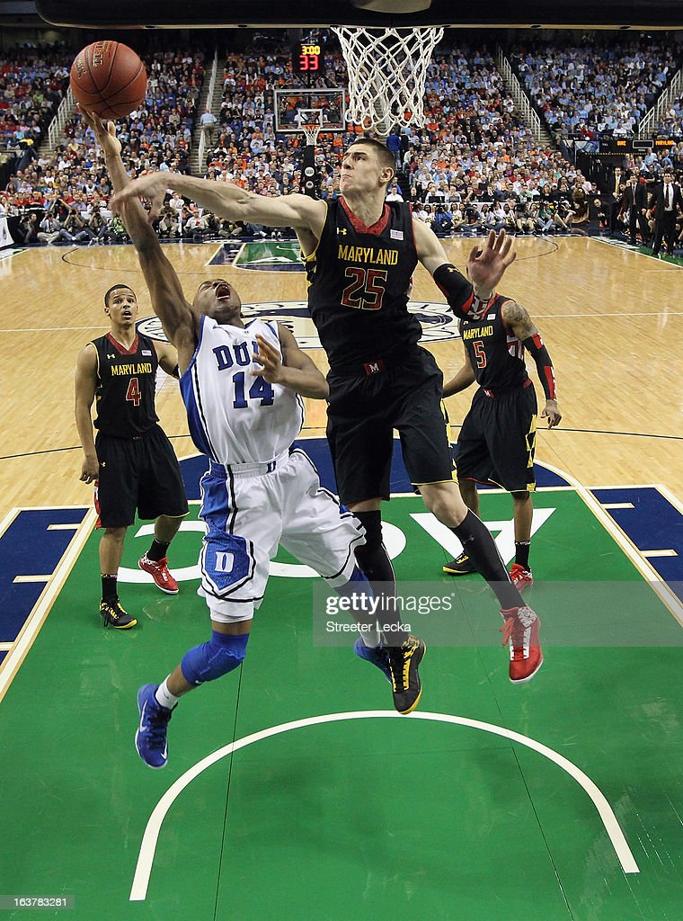 <a gi-track='captionPersonalityLinkClicked' href=/galleries/search?phrase=Rasheed+Sulaimon&family=editorial&specificpeople=7887134 ng-click='$event.stopPropagation()'>Rasheed Sulaimon</a> #14 of the Duke Blue Devils drives to the basket against Alex Len #25 of the Maryland Terrapins during the quarterfinals of the Men's ACC Basketball Tournament at Greensboro Coliseum on March 15, 2013 in Greensboro, North Carolina.