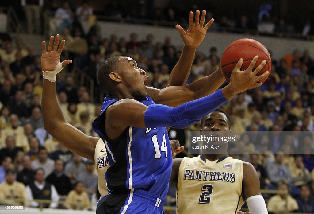 <a gi-track='captionPersonalityLinkClicked' href=/galleries/search?phrase=Rasheed+Sulaimon&family=editorial&specificpeople=7887134 ng-click='$event.stopPropagation()'>Rasheed Sulaimon</a> #14 of the Duke Blue Devils drives to the basket against the Pittsburgh Panthers at Petersen Events Center on January 27, 2014 in Pittsburgh, Pennsylvania.