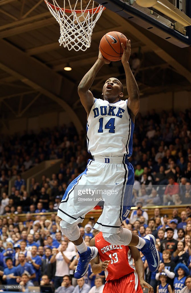 <a gi-track='captionPersonalityLinkClicked' href=/galleries/search?phrase=Rasheed+Sulaimon&family=editorial&specificpeople=7887134 ng-click='$event.stopPropagation()'>Rasheed Sulaimon</a> #14 of the Duke Blue Devils drives to the basket during their game against the Cornell Big Red at Cameron Indoor Stadium on December 19, 2012 in Durham, North Carolina.