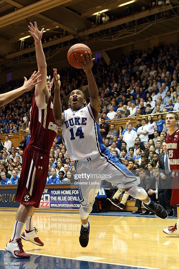 Rasheed Sulaimon #14 of the Duke Blue Devils drives to the basket during their game against the Boston College Eagles at Cameron Indoor Stadium on February 24, 2013 in Durham, North Carolina.