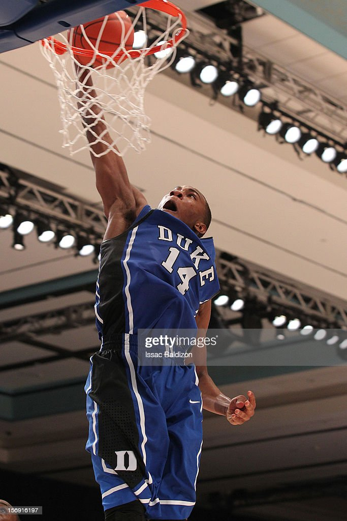 Rasheed Sulaimon #14 of the Duke Blue Devils dunks against the Louisville Cardinals during the Battle 4 Atlantis tournament at Atlantis Resort November 24, 2012 in Nassau, Paradise Island, Bahamas.